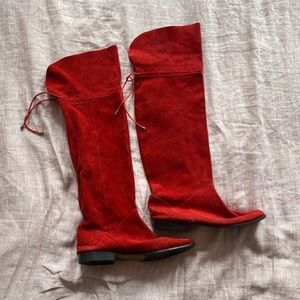 Vintage Suede Red Knee High Boots! Size 8.5